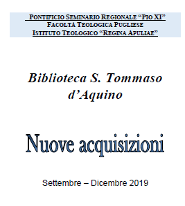 Acquisizioni Biblioteca S. Tommaso d'Aquino